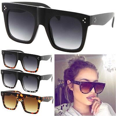 Large Flat Top Square Cat Eye Fashion Oversized Women Sunglasses Thick Frame