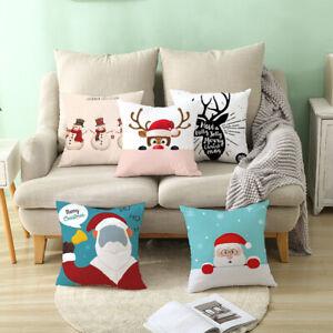 Am-Christmas-Tree-Santa-Claus-Printed-Car-Xmas-Sofa-Pillowcase-Decor-Eyeful