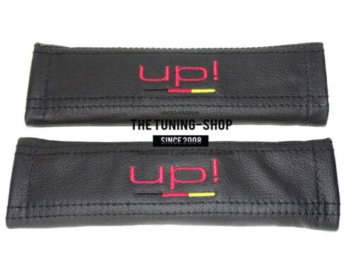 """2x Seat Belt Covers Pads Black Leather /""""UP!/"""" Red Embroidery For Volkswagen UP"""