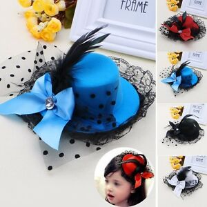 Bow Hair Clip Lace Feather Mini Top Hat Fascinator Burlesque Party ... a2e9a5a9ebbb