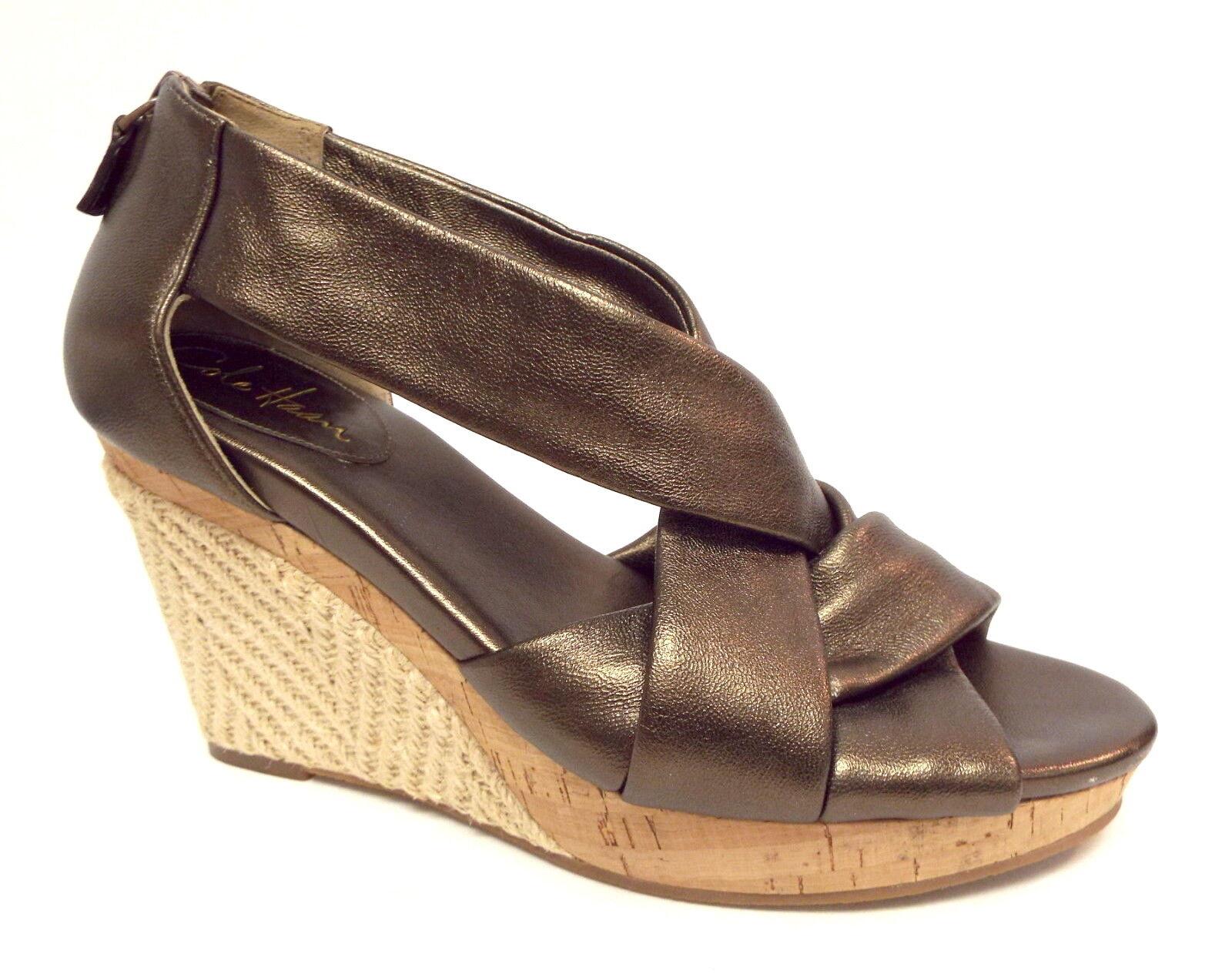 COLE HAAN Size 8 Bronze Delfina Espadrille Wedges Sandals shoes w  N. Air