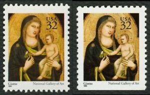#3003 & 3003A 32c Madonna Y Niño, Nuevo Cualquier 5=