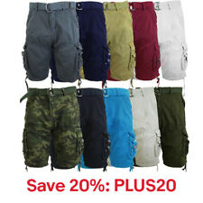 Mens Cotton Belted Cargo Shorts Distressed Lounge Hiking, 20% off, PLUS20