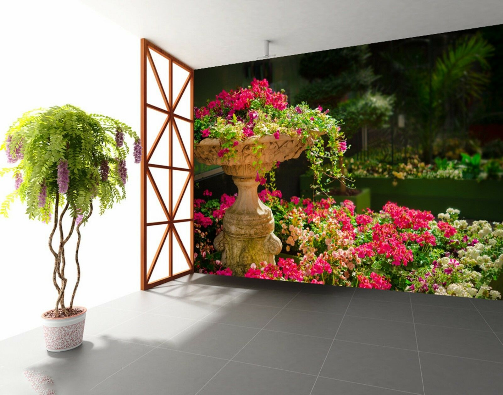 3D flower bed lake Wall Paper Print Decal Wall Deco Indoor wall Mural