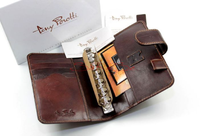 Tony Peredti Timer Organiser Ring bar Pen Holder Business Cards Leather Brown