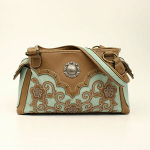 Blazin-Roxx-CONCEAL-amp-CARRY-Satchel-Calico-Kate-BROWN-TURQUOISE-Filigree