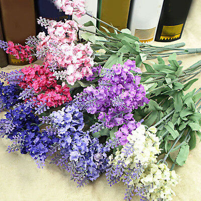 10Pcs Bouquet Artificial Silk Lavender Fake Garden Plant Flower Home Decor DIY