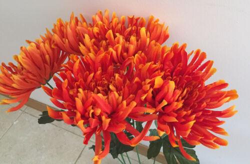 Seidenblumen 60 cm   Kunstblumen 5  x Chrysanthemen orange//gelb  Länge  ca