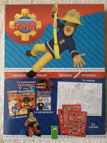 Kreativ-Box Feuerwehrmann Sam Bastel-, Mal und Rätselbuch + Poster /& Sticker