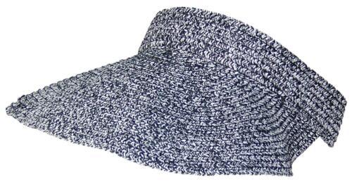 Tropic Hats Tweed Womens Packable Roll-Up Wide Brim Sun Visor #917 Black