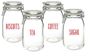 Vinyl Sticker Decal Labels for Jars Containers Sugar Coffee Biscuits Tea