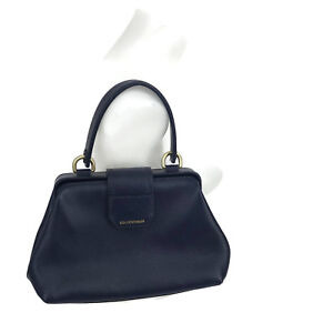 EMPORIO-ARMANI-Blue-Pebbled-Hammered-Structured-Handbag-Satchel-With-Inner-Pouch
