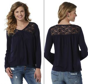 71253ce4dbe Womens size Small BOHO Navy Blue Top Lace Peasant Shirt Long Sleeve ...