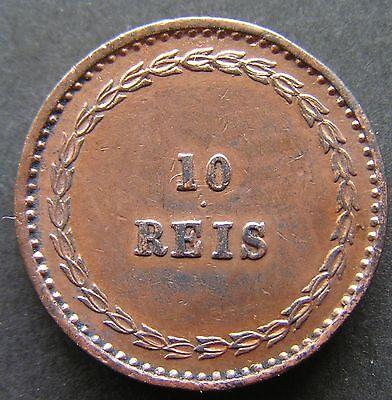 Portuguese India Coins ,Cooper 10 Reis 1871 D Luiz l AUNC, Portugal