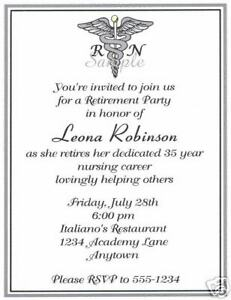 Details About 20 Retirement Party Invitations Nursing Nurse Caduceus