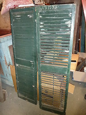 PR victorian louvered house window SHUTTERS OLD green paint 61.5 x 17 3//8/""