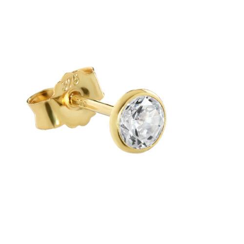 Individuales 4,5mm pendientes dorado 375 Gold arete 9 quilates circonita blanco 2606