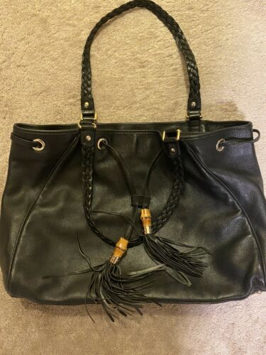 Gucci Peggy Bamboo Tassels Leather Tote