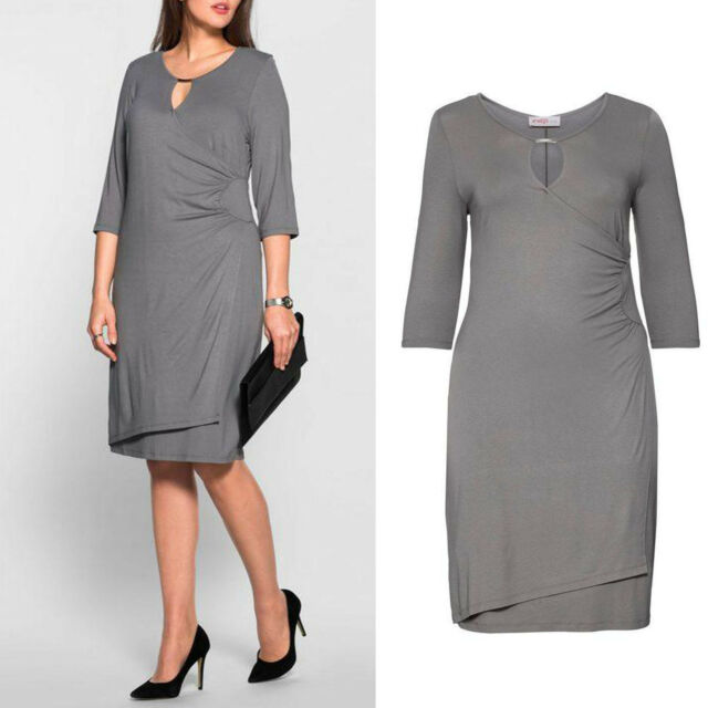 genial KLEID Gr.46/48 Wickelkleid SHIRTKLEID grau Wickel-Look Wrap-Optik