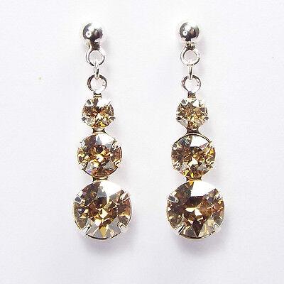 Damen Ohrringe 925 Sterling Silber Swarovski Kristalle Hänger 24 mm Gold Beige
