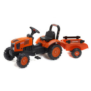Kubota Branded Orange M717 Kids Ride on Pedal Tractor with Trailer