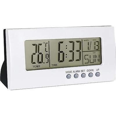 New Light Silver Color Home Office Desk Digital ALARM CLOCK Calendar Thermometer