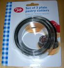 TALA STAINLESS STEEL PLAIN ROUND PASTRY TART PIE FLAN BISCUIT COOKIE CUTTERS x 3