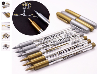 GOLD METALLIC MARKER SILVER PENS  Craft Paper Card Gift Arts Bullet Nib T5641 UK