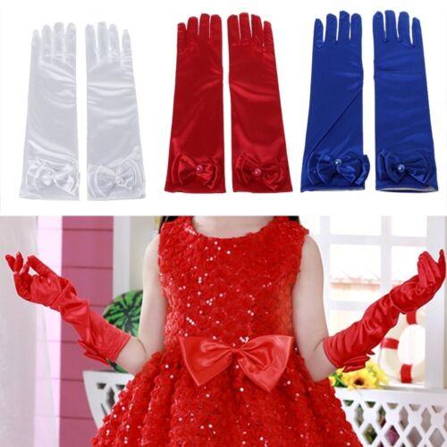 Long Satin Gloves Kid Girl Children Satin Sleeves For Party Wedding Performance