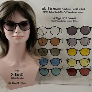 ELITE-Newark-034-BLACK-034-20x50-NOS-Vintage-Keyhole-Eyewear-amp-Case