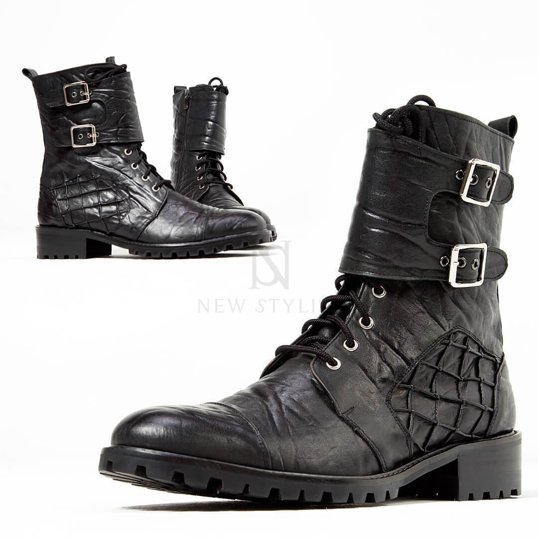 NewStylish Mens Fashion Shoes Footwear Elephant Patterned Leather Biker Boots