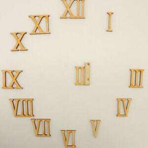 Römische Ziffern  3-6-9-12 in 50 mm aus Holz zum Basteln Uhr Ziffernblatt