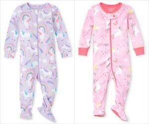 NWT The Childrens Place Unicorn Rainbow Girls Stretchie Footed Sleeper Pajamas