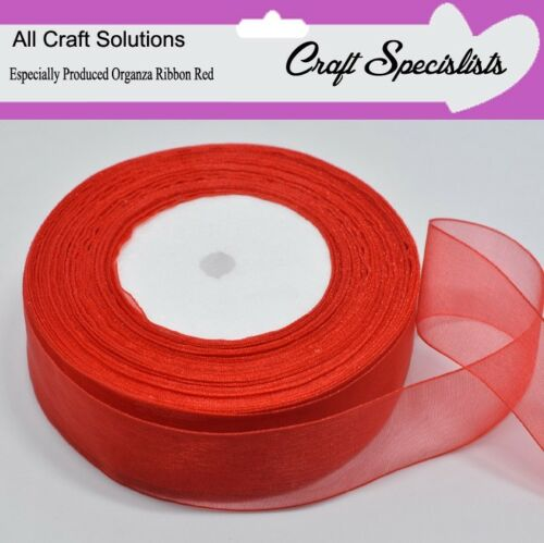 7mm 38mm  25-50 YARDS 25mm 15mm WOVEN EDGE ORGANZA RIBBON RED