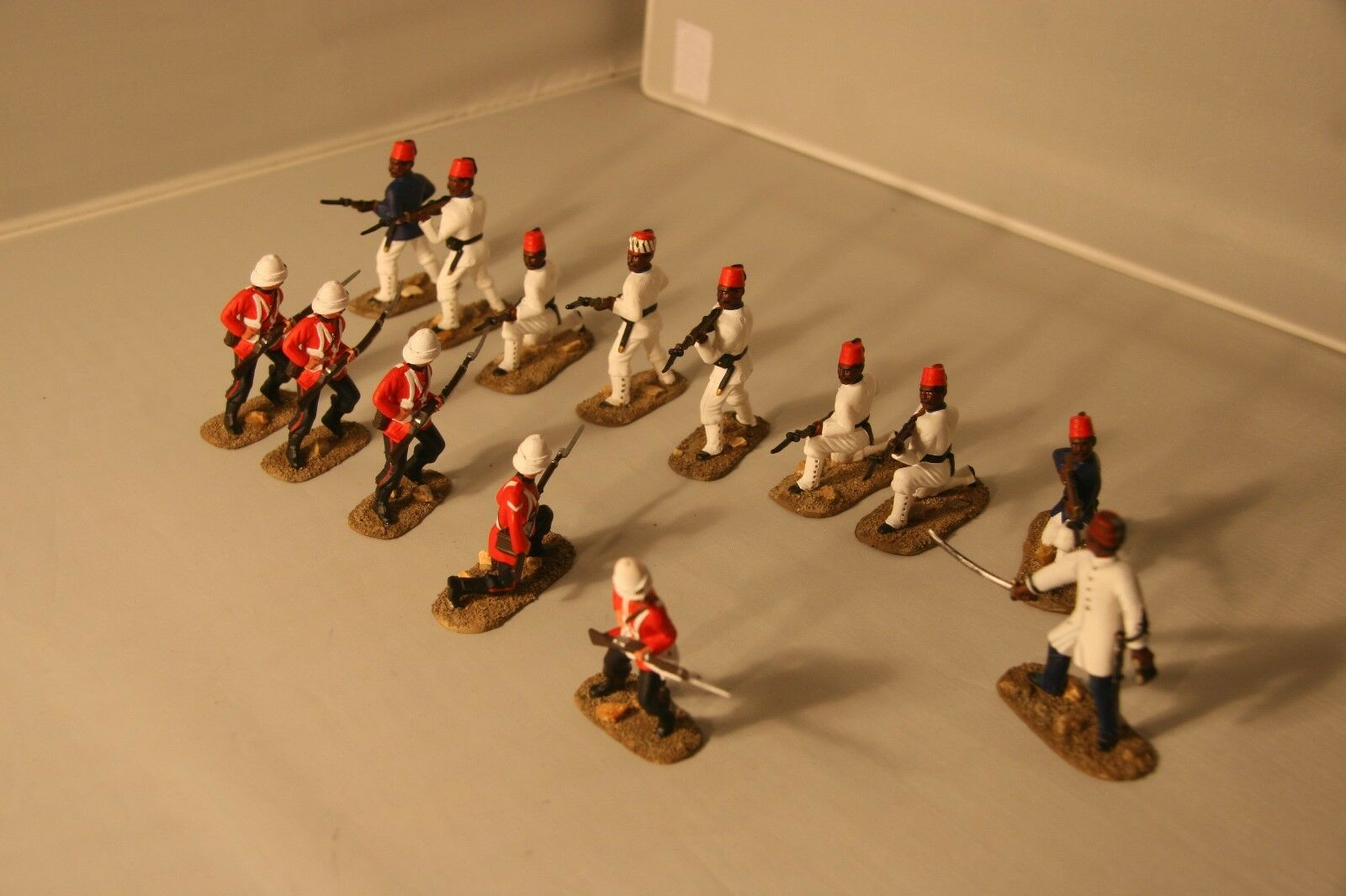 14 54mm Painted Coldstream Guards and Egyptian Infantry - Tel El Kebir 1882
