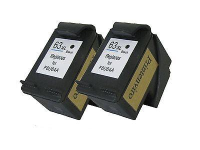 Printenviro Remanufactured Ink Cartridge for 2x HP 63XL Black F6U64A