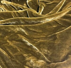 Hand Dyed GOLDEN CHARTREUSE Silk VELVET Fabric