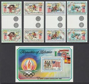 Liberia Sc 1151-1155 MNH. 1992 Olympics SS + gutter pairs, complete set, VF+