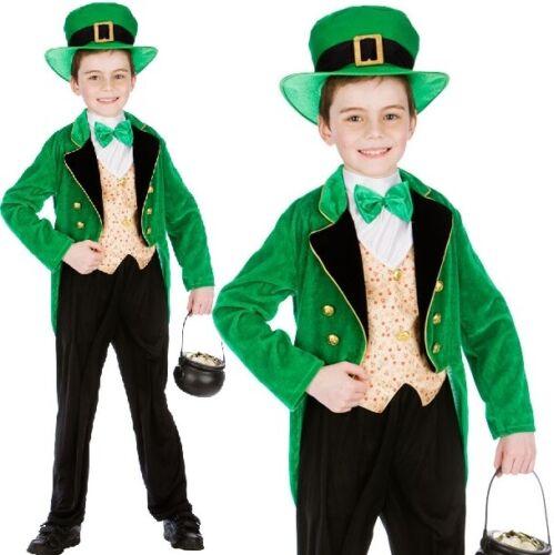 Childrens Deluxe Folletto Boy Costume Bambino St Patrick/'s Day NUOVO