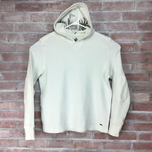 Express Hooded Sweater Men's L Elbow Patches White