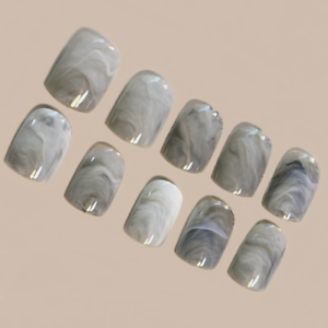 MARBLE SHORT *GREY* Full Cover Press On 24 Nail Tips + Glue!