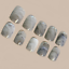Indexbild 1 - MARBLE SHORT *GREY* Full Cover Press On 24 Nail Tips + Glue!