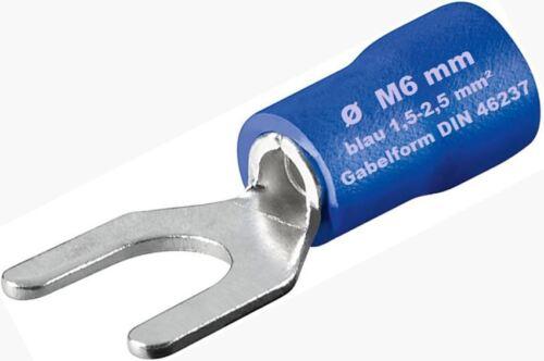 Chaussures Câble Bleu 1,5-2,5mm² fourche ø M 6 mm quetschkabelschuhe gabelform m6 NEUF
