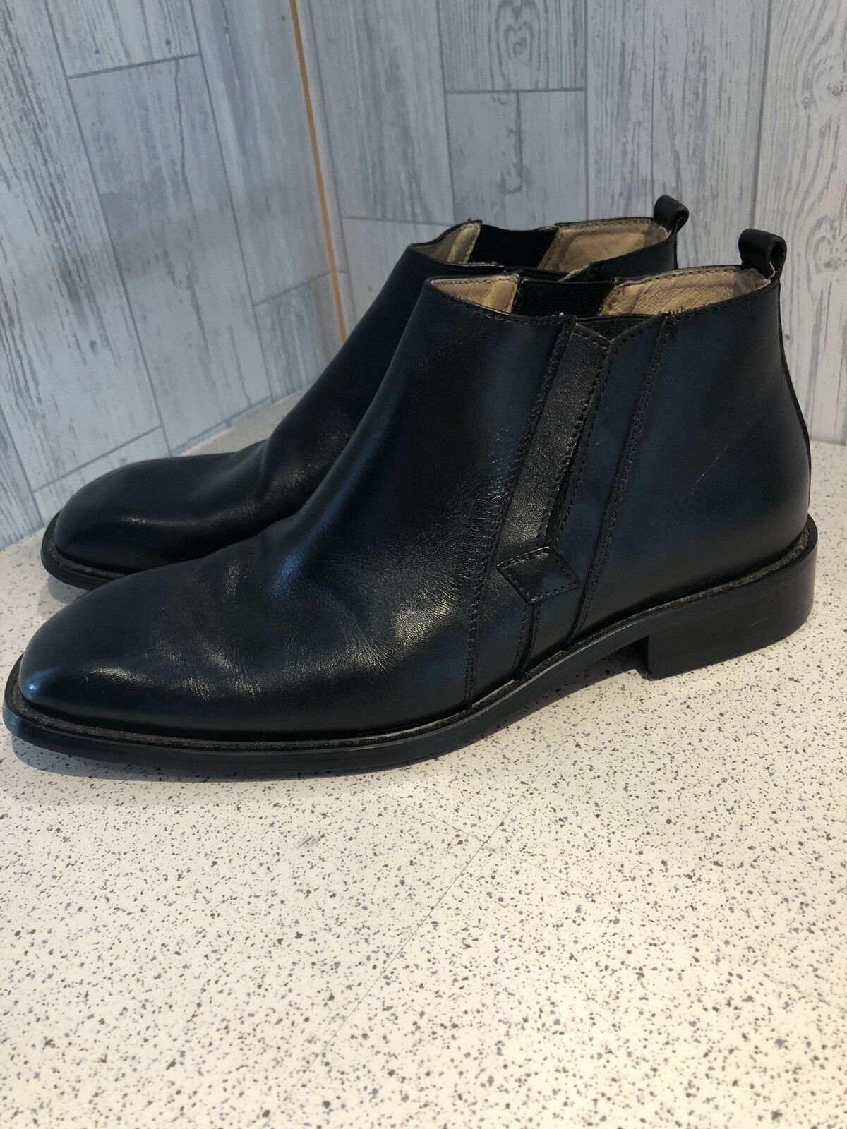 Carlo Pradi Mens Black Leather Ankle Boots Sz7.5