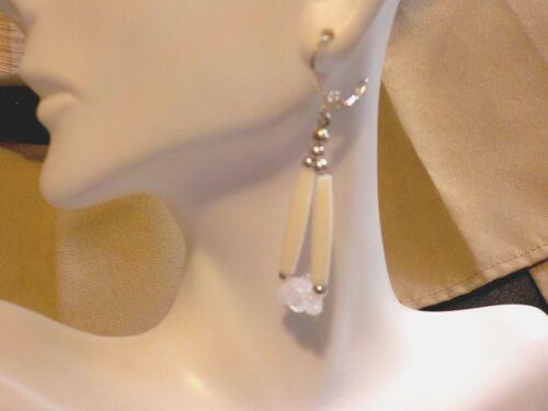Pale Pink Rose Quartz White Hairpipe  Native American Earrings