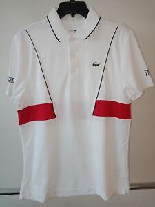Lacoste Sport Novak Djokovic Homme Tech Pique Tennis Polo Blanc-Rouge MEDIUM-afficher le titre d`origine KBgcHJAD-07153131-600976436