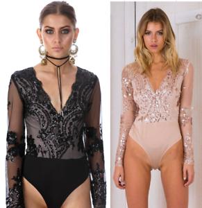 Women-Sexy-Sequins-V-Neck-Long-Sleeve-Lace-Jumpsuit-Romper-Bodysuit-Shirt-Blouse