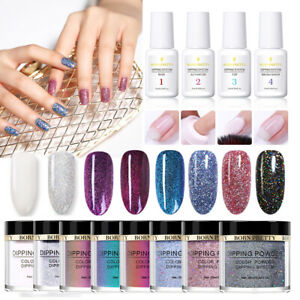 12Bottles-BORN-PRETTY-Chameleon-Glitter-Dipping-Powder-Liquid-Nail-Starter-Kit