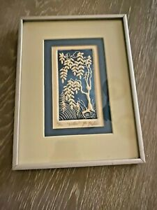 Al-Kaufman-Listed-Artist-Intaglio-Etching-Willow-Tree-Signed-94-100-Vintage