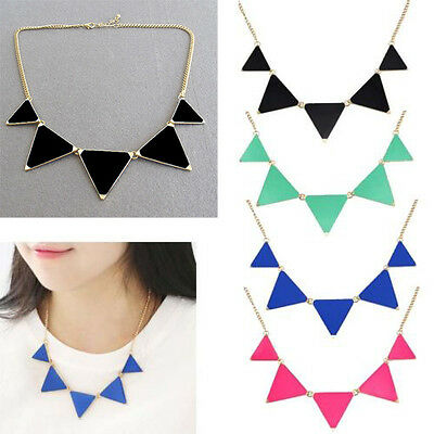 Fashion Hot Women Triangle Pendant Choker Chain Choker Chunky Statement Necklace
